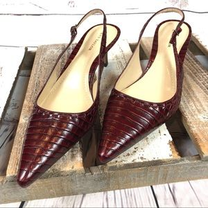 Ann Taylor Leather Croco Slingback Red Pumps